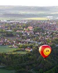 Smiley balloon over Rothenburg